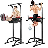 Dicesnow Adjustable Sturdy Steel Power Tower Multi-Functional Exercise Stand Workout Pull-Up, Push-Up, Dip Station, Knee Raise with Cushion Pad, Black