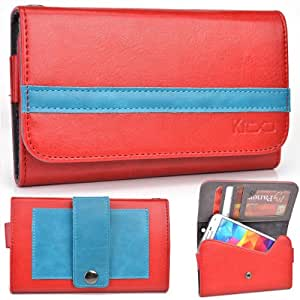 EXXIST® Graphite Series. Faux Leather Clutch / Wallet for Lava Xolo Q800 (Color: Red / Baby Blue Stripe) -ESMLGPR1