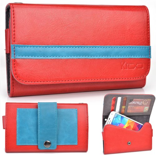 EXXIST® Graphite Series. Faux Leather Wallet / Clutch for Faea F2 (Color: Red / Baby Blue Stripe) -ESMLGPR1