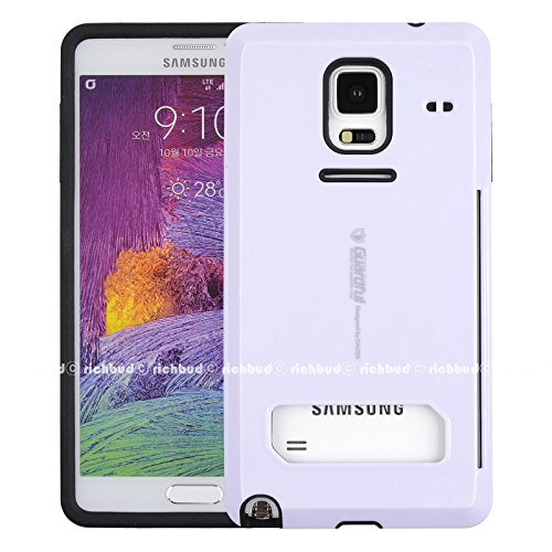 Galaxy Note 4 Case,[White] Guardful [Shockproof] Credit Card Case [Dual Layer] Protective Hybrid Case [Coin Standing] with One Card Slot Wallet for Galaxy Note 4 IV (White)