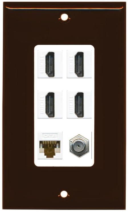 RiteAV - 4 Port HDMI 1 Coax Cable TV- F-Type 1 Cat6 Ethernet