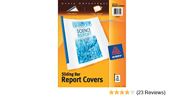 amazon com avery sliding bar clear report covers pack of 3 47314