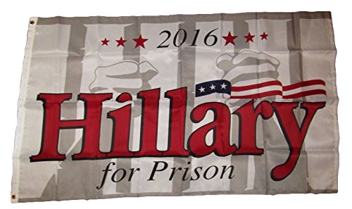 ALBATROS 3 ft x 5 ft Hillary Clinton for Prison 2016 Premium Quality Flag Banner Grommets for Home and Parades, Official Party, All Weather Indoors Outdoors