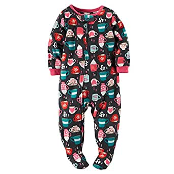 Carter's Little Girls' 1 Piece Microfleece Footed Pajamas (3T, Hot Cocoa)