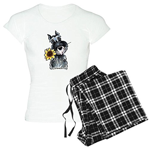 CafePress - Sunflower Schnauzer Women's Light Pajamas - Womens Novelty Cotton Pajama Set, Comfortable PJ Sleepwear