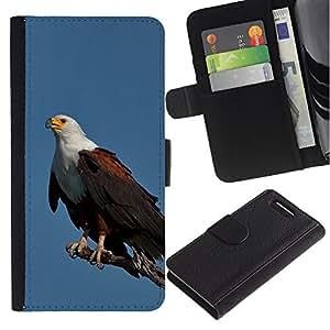 KingStore / Leather Etui en cuir / Sony Xperia Z1 Compact D5503 / Plumes d'oiseaux noirs américains