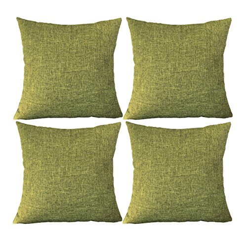 Sykting Sofa Cushion Cases Pillow Shams Set of 4 Cotton Linen Blend Decorative for Bed/Sofa/Chair Green (Sofa Set Green)