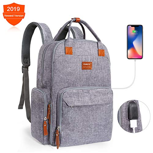 Diaper Bag Backpack, MIBOTE Multi-Function Travel Back Pack Large Organizer Maternity Baby Nappy Bags with USB Charging Port for Mom/Dad – Waterproof, Stylish and Durable(Grey)