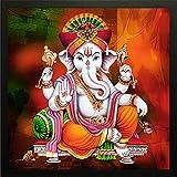 Madhav Art Lord Ganesha Painting Digitally Printed Classic Creative and Decorative Photo Frame/God Ganesh Religious Digital Images for Ganesh (14x14 inch)