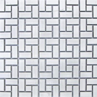 Spiral Pattern Porcelain Mosaic Tile Matte White with Matte White Dots