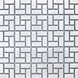 Spiral Pattern Porcelain Mosaic Tile Matte White with Matte White Dots