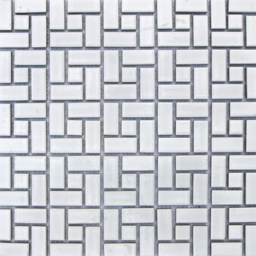 Spiral Pattern Porcelain Mosaic Tile Matte White with Matte White Dots by Daltile
