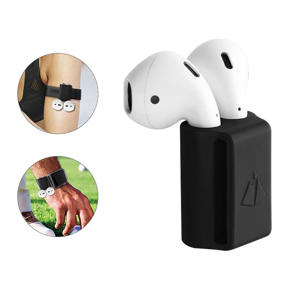 Teepao Funda de Silicona para Airpod Holder 2 en 1, Portátil, antipérdida, Compatible con Correa para Apple iWatch DE 18 a 22 mm, Ideal para Ejercicio, ...