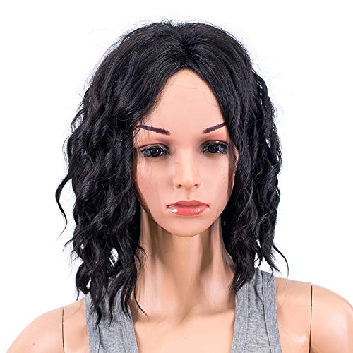Curly Wavy Hair Wig Medium Length Synthetic Colorful Cosplay Daily Party Wig for Women and Kids with Wig Cap (1B#- Off Black) ()
