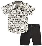 Kyпить Calvin Klein Toddler Boys' 2 Pieces Shirt Shorts Set, Black/White, 4T на Amazon.com