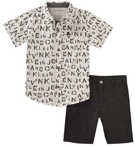 calvin klein Baby Boys 2piezas playera pantalones cortos Set, Negro/Blanco, 3-6 Meses