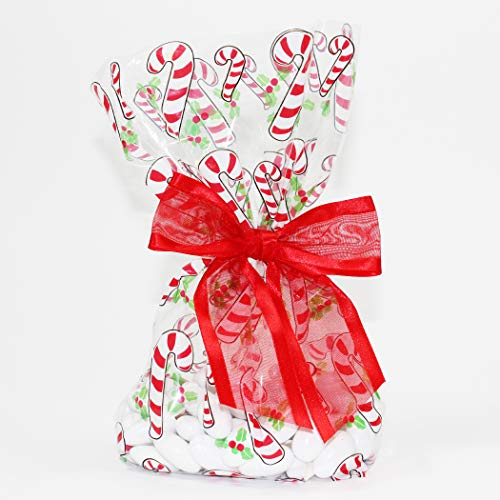 Candy Canes Christmas Holiday Cellophane Treat Party Favor Bags with Twist-Tie Organza Bow. Set of 10 Ready-to-Use, Gussetted 11x5x3 Goodie Bags with Red Bows.