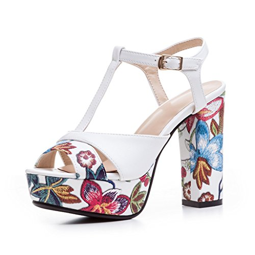 MiNi Women's High Heeled Thick Heel T-Strap Platform Embroidered Wedge Open-Toe Sandals(4, (T-strap Mini Platform)