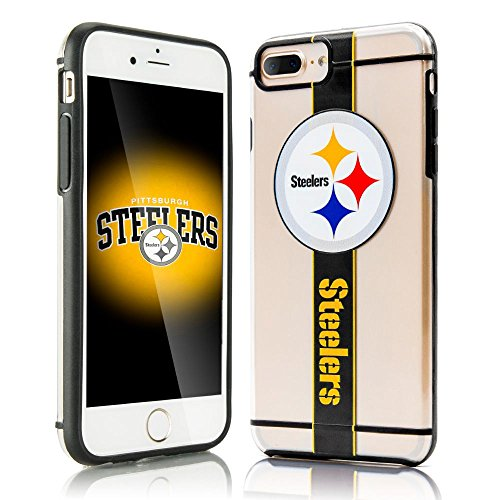iPhone 7 Plus Case, Dreamwireless Hydroclear SMU 3D Print Pittsburgh Steelers Dual Layer [Shock Absorbing] Protection Hybrid PC/TPU Rubber Case Cover For Apple iPhone 7 Plus, Black/Yellow (Pittsburgh Steelers Phone Case)