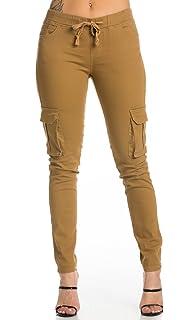 baa4f0021 Drawstring Skinny Cargo Pants in Khaki at Amazon Women's Clothing store: