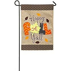 Evergreen Happy Fall Y'all Collage Burlap Garden Flag, 12.5 x 18 inches