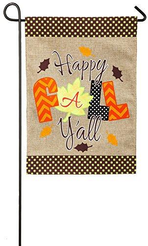 Evergreen Happy Fall Y'all Collage Burlap Garden Flag, 12.5