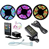 Firstsd 49.2ft (15M /3X5 Meters) LED RGB SMD 3528 Light Strip Kit Color Changing Waterproof IP65 with Flexible Tape DC 12V + IR Remote music Sound Sensor controller +5A Power Supply