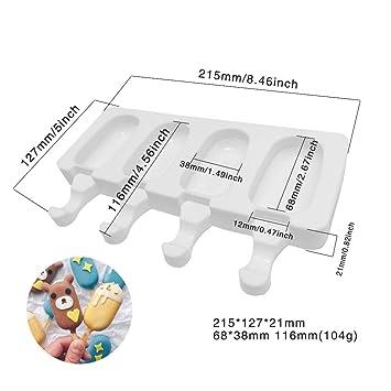 Molde ovalado para paletas de helado, de silicona, 4 celdas, reutilizable, molde