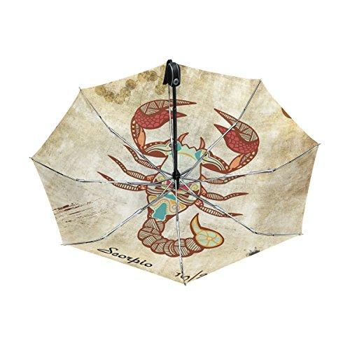 - Franzibla Constellation Zodiac Sign Scorpio UPF 50+ Anti-UV Parasol Waterproof Windproof Reverse 3 Folds Auto Open Close Lightweight Umbrella