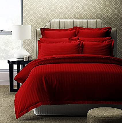 af7dce2e84 Story@Home Forever XL 300 TC Superior 100% Cotton Solid Satin Plain Double  King Size Bedsheet with 2 Pillow Covers, Red: Amazon.in: Home & Kitchen