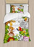 Ambesonne Nursery Duvet Cover Set Twin Size, Cartoon Style Zoo Animals Safari Jungle Mascots Collection Tropical Forest Wildlife, Decorative 2 Piece Bedding Set with 1 Pillow Sham, Multicolor