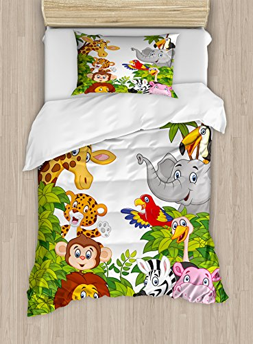 (Ambesonne Nursery Duvet Cover Set Twin Size, Cartoon Style Zoo Animals Safari Jungle Mascots Tropical Forest Wildlife Pattern, Decorative 2 Piece Bedding Set with 1 Pillow Sham, Green White )