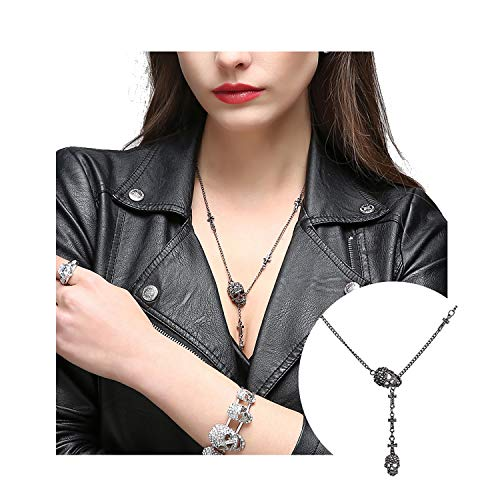 EVBEA Skull Necklace for Women Long Gothic Jewelry