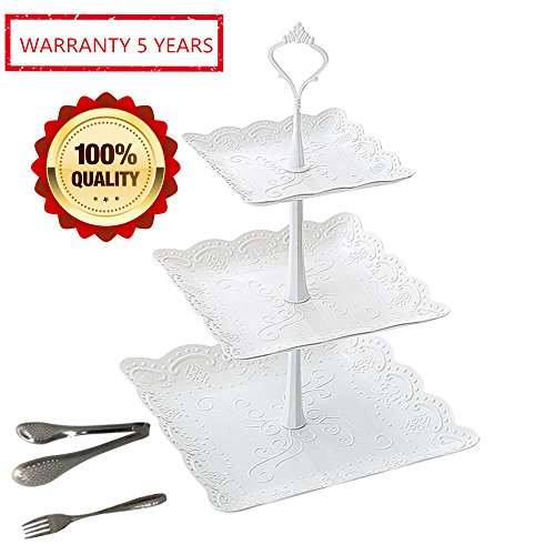 Cupcake Dessert Pastry Stand White Set for Party Wedding 3 Tier Plastic Square Serving Platter Tea Stand and Trays Towers