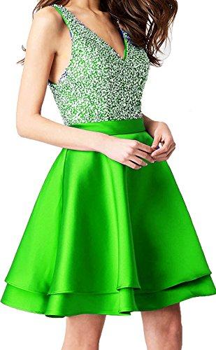 Satin Dresses BD343 Homecoming Green Short Party V Neck Beads BessDress Formal Dresses Double v0gwTagnSq