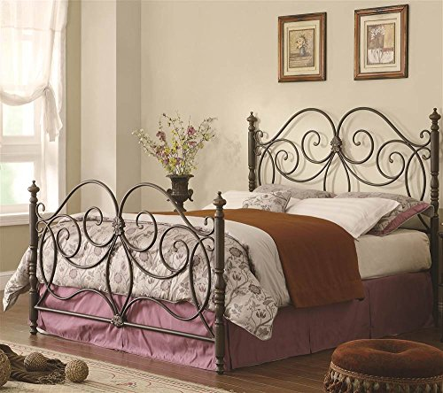Iron Headboard and Footboard with Scroll Details for Queen B