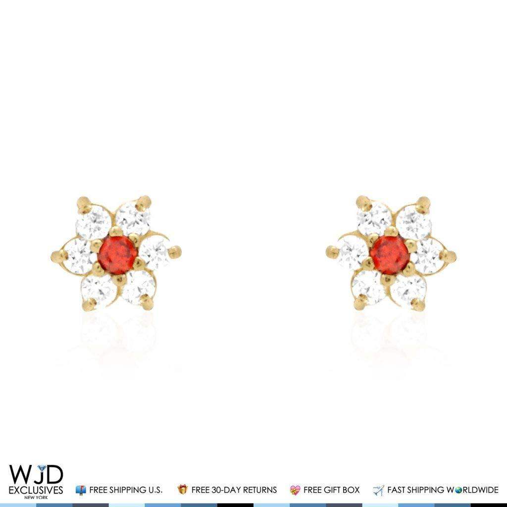 14k Solid Yellow Gold Diamond And Garnet Flower Cluster Screwback Stud Earrings 0.65Ct