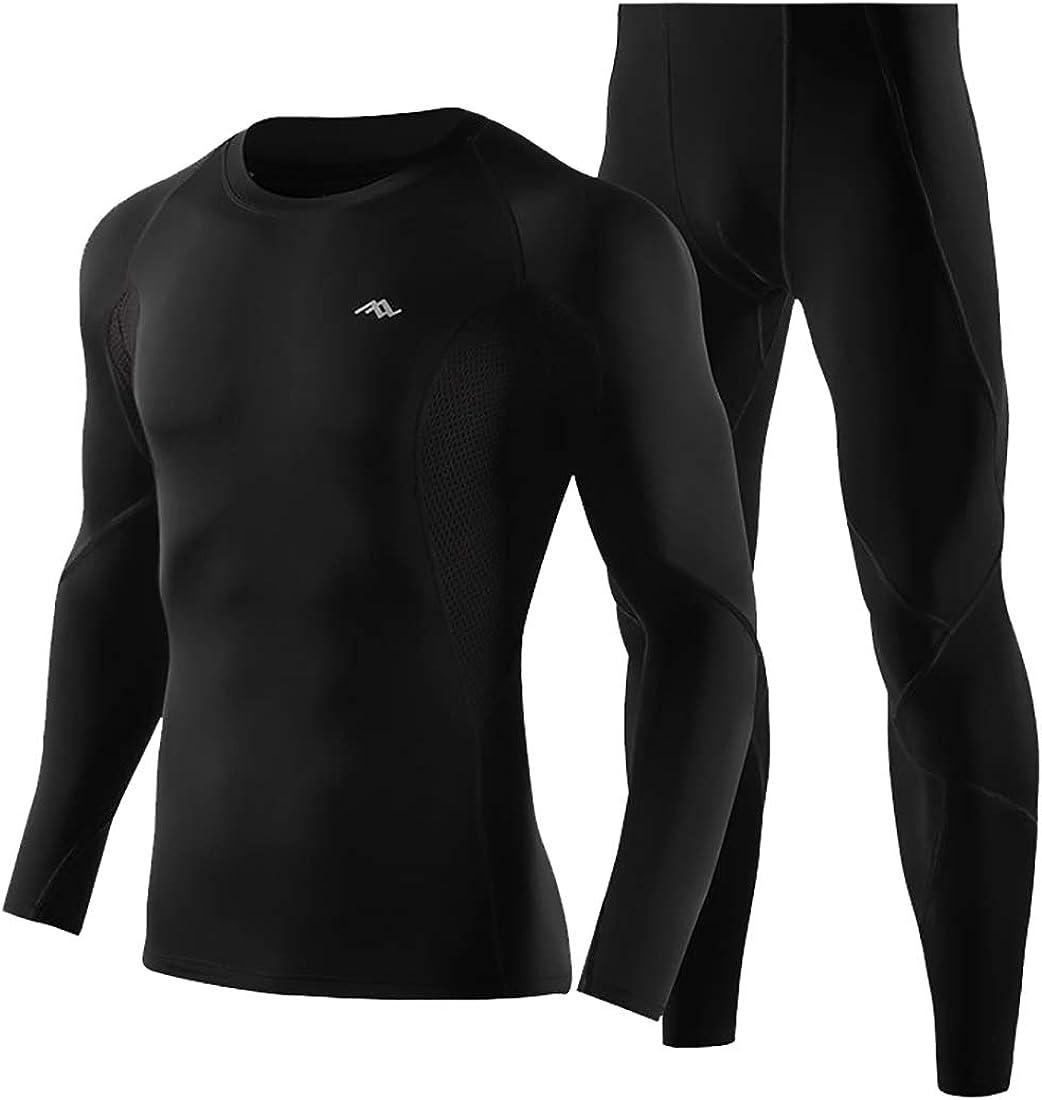 GAGA Mens Fashion 2pcs Thermal Long Cool Dry Compression Set Top Bottoms
