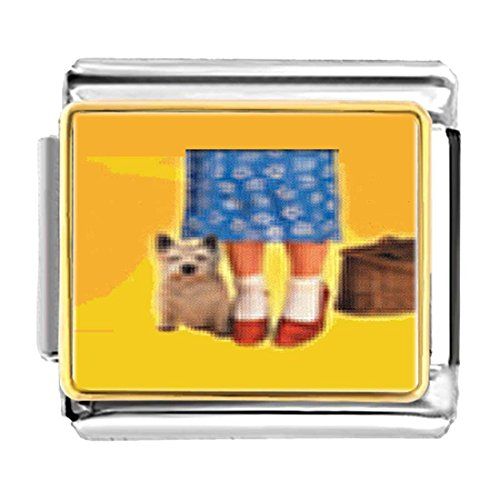 (GiftJewelryShop Gold Plated Dorothy's Red Shoes and Toto Bracelet Link Photo Italian Charm)