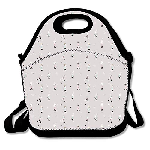 (Cute Bunny Girls on Swing Hula Hoop Scooter Ballerina Teen Stylish Artsy Waterproof Reusable Lunch Bags For Men Women Adults Kids Toddler Nurses With Adjustable Shoulder)