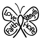 Breast Cancer Butterfly Ribbon, Hope, Faith, Love, Strength Decal
