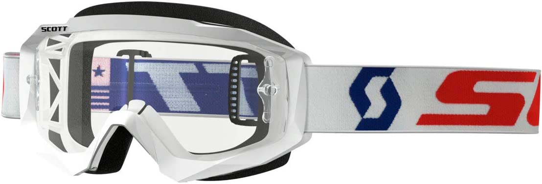 Scott Goggle Hustle MX LS White//red Electric Blue Chrome Works