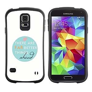 Suave TPU Caso Carcasa de Caucho Funda para Samsung Galaxy S5 SM-G900 / Hope Clean White Teal Quote / STRONG