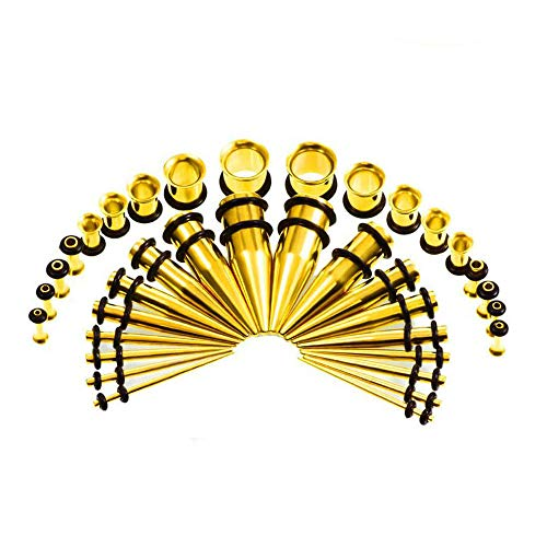 Ear Gauge Stretching Kit,36PC Gauges Kit Acrylic Plugs Stainless Steel Tapers 14G-00G Ear Stretching Piercing Set,Yellow by WANGYONGQI (Image #4)