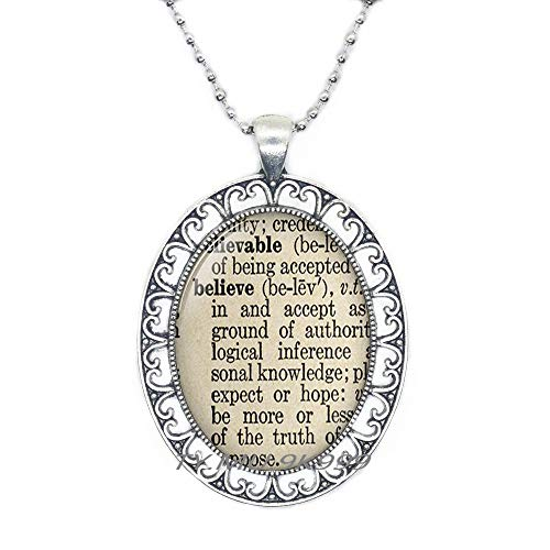 Yao0dianxku Believe Definition Necklace Charming Dictionary Word Religious Gift Christian Pendant Trust Jewelry.Y218 ()