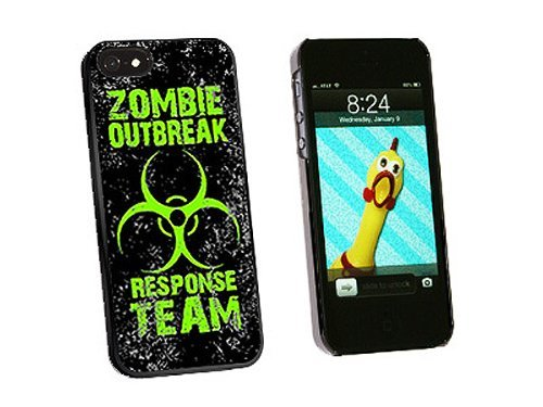 Graphics and More Zombie Outbreak Response Team Green Distressed Snap-On Hard Protective Case for iPhone 5/5s - Non-Retail Packaging - Black