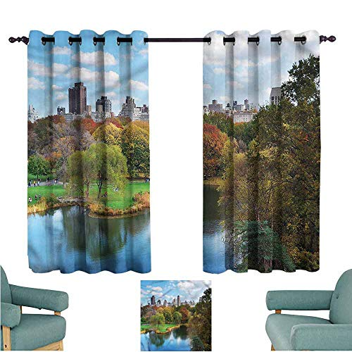 - Waterproof Window Curtains New York Central Park Autumn Insulated with Grommet Curtains for Bedroom W55x63L