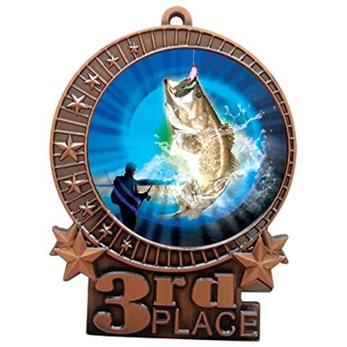 Express Medals 3インチ バスフィッシング 第3位 メダル ブロンズ 赤 白 青 ネックリボン 賞 トロフィー XMDMY4 B07G8LSMMB