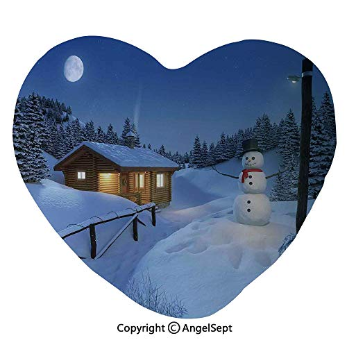AngelSept Heart Shaped Home Decorative Throw Pillow Wooden Rustic Log Cottage Scenery Winter Warm Moonlight Spirit Decor Sofa Chair Waist Rest Cushion Stuffed Toy Decor Birthday Gifts,Blue White