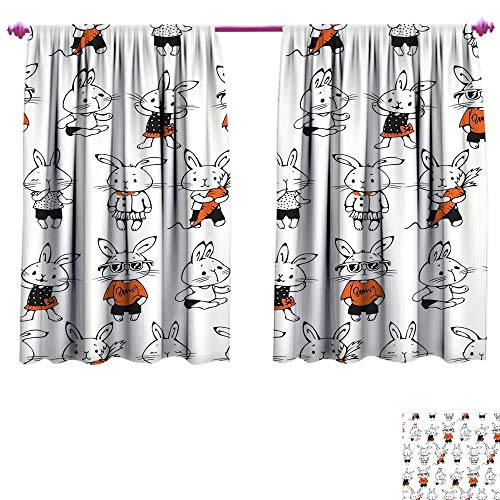 Funny Blackout Window Curtain Cute Retro Bunny Rabbits with Costumes Jack Hare Funky Bunnies Carrot Sketch Style Customized Curtains W72 x L45 Orange White